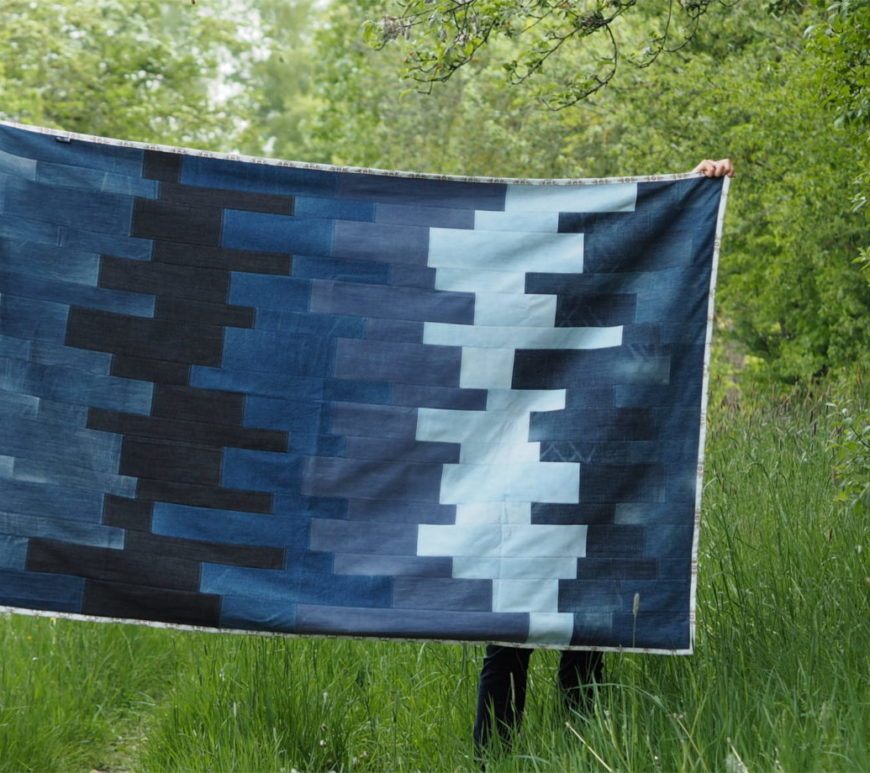 Jeans Reste Decke upcycling Patchworkdecke 3b